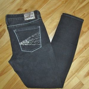 EXPRESS SLIM FIT BLACK JEAN LEGGINGS SIZE 14